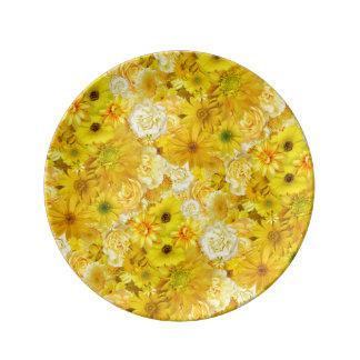 Yellow Rose Friendship Bouquet Gerbera Daisy Plate