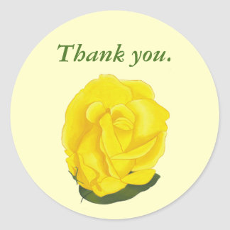 Yellow Rose Full Bloom Thank you Stickers
