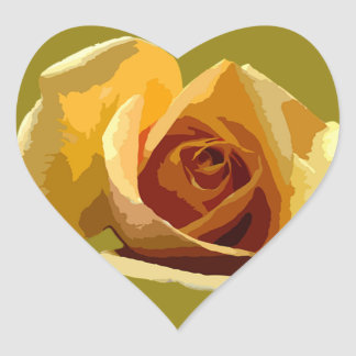 Yellow Rose Heart Sticker