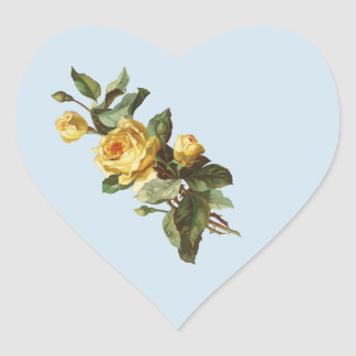 YELLOW ROSE HEART STICKER