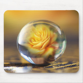Yellow Rose In A Glass Ball Mouse Pad