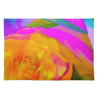 Yellow rose inside other rose placemats