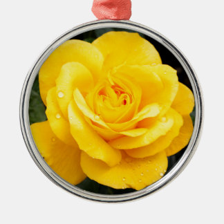 Yellow Rose Metal Ornament