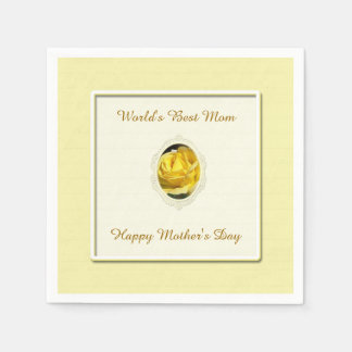 Yellow Rose Mother's Day Paper Napkins