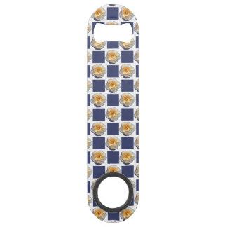 Yellow Rose Navy Blue Squares Speed Bottle Opener