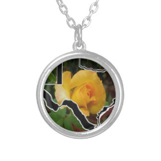 Yellow Rose of Texas with Texas Silver Plated Necklace