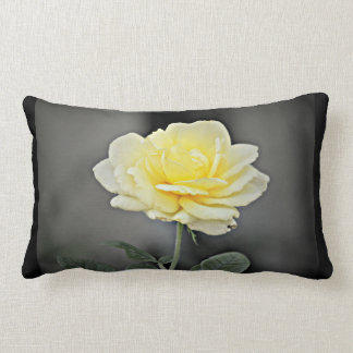 Yellow Rose on Black Custom Lumbar Pillow