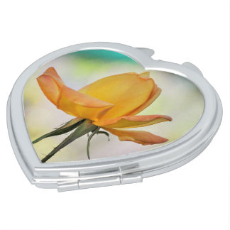 Yellow Rose on Heart Compact Mirror