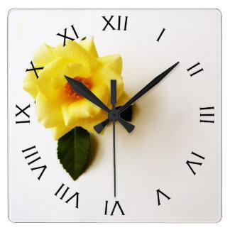 Yellow Rose On White Black Roman Number Wall Clock