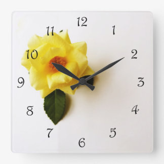 Yellow Rose On White Black Scrip Number Wall Clock