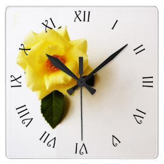 Yellow Rose On White Black Script Roman Wall Clock