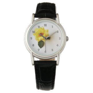 Yellow Rose On White Fat Grey Numbers Womens Watch