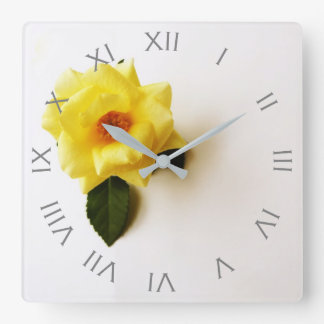 Yellow Rose On White Grey Roman Numbers Wall Clock
