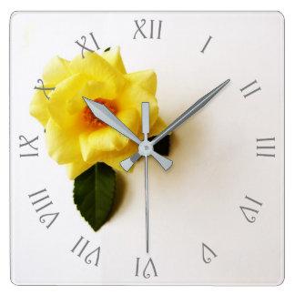 Yellow Rose On White Grey Script Roman Wall Clock