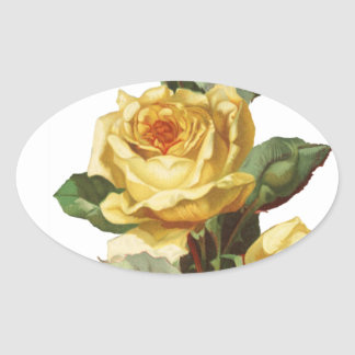 Yellow Rose Oval Sticker