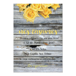 Yellow Rose Over Wooden Background in Spanish Card
