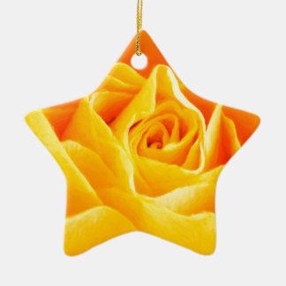 Yellow rose painted ceramic star decoration