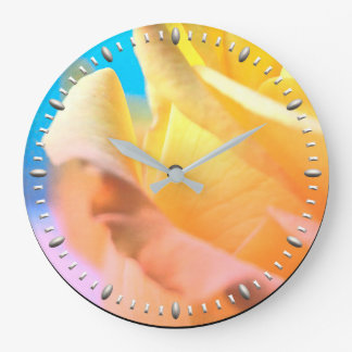 Yellow Rose Petal Wall Clock by Julie Everhart
