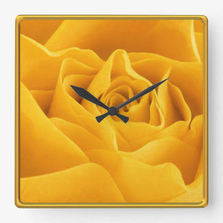 Yellow Rose Petals Framed Custom Square Wall Clock