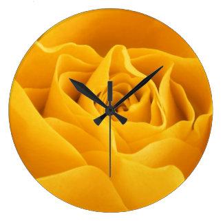 Yellow Rose Petals Large Clock