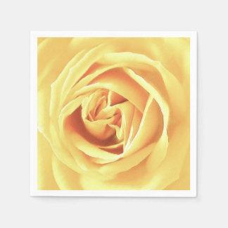 Yellow rose print disposable serviettes