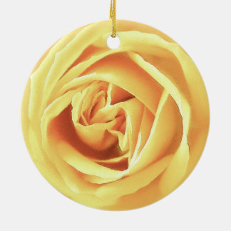Yellow rose print round ceramic decoration
