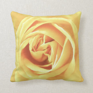 Yellow rose print throw cushion