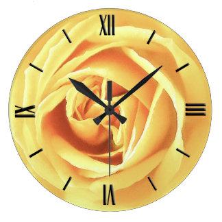 Yellow rose print wall clocks