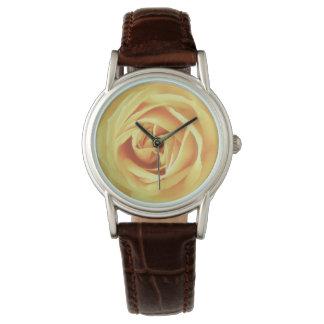 Yellow rose print wrist watches