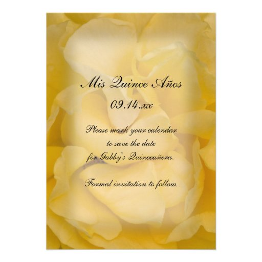 Yellow Rose Quinceañera Save the Date Personalized Announcements