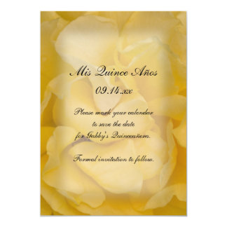 Yellow Rose Quinceañera Save the Date 5x7 Paper Invitation Card