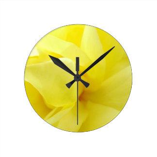 Yellow Rose Round Clock
