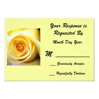 Yellow Rose RSVP Card 9 Cm X 13 Cm Invitation Card