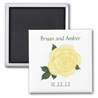 Yellow Rose Save the date Wedding Magnets