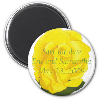 Yellow rose, Save the date wedding magnets