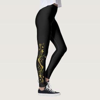 Yellow Rose Silhouette on Black Leggings