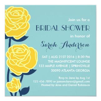Yellow Rose Spring Flower Bridal Shower Invitation