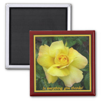 Yellow rose square magnet