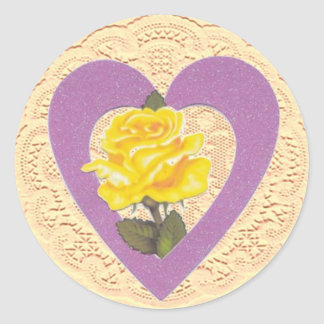 Yellow Rose Valentine Sticker