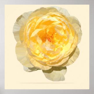 Yellow Rose Vintage Geometric Poster Print