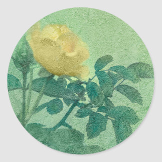 Yellow Rose Vintage Style Photo Round Sticker