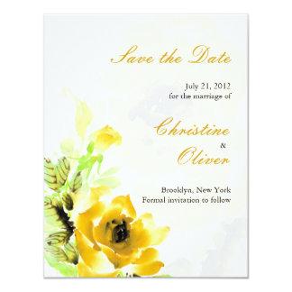 Yellow Rose Wedding Save the Date Card 11 Cm X 14 Cm Invitation Card