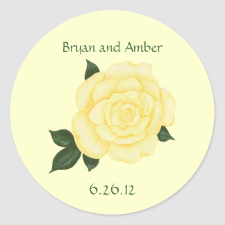 Yellow Rose Wedding Save the date Stickers