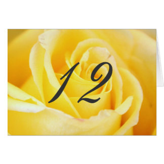 Yellow Rose Wedding Table Numbers Note Card