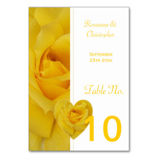 Yellow Rose Wedding Table Setting Table Card