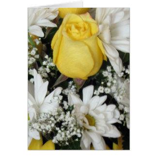 Yellow Rose white daisies Card