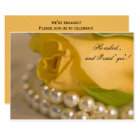 Yellow Rose White Pearls Engagement Party Invite