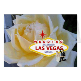 Yellow Rose with Bride & Groom WEDDING In Las Vega Greeting Card