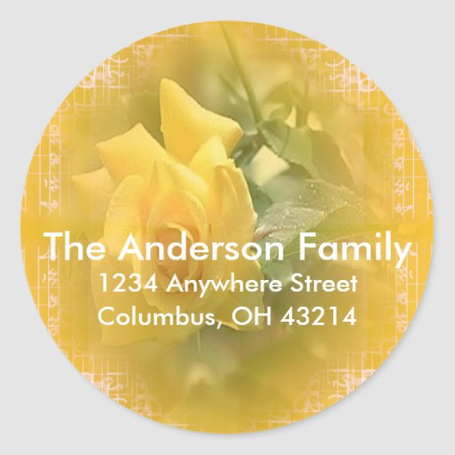 Yellow Rose with Design Return Address Stickers