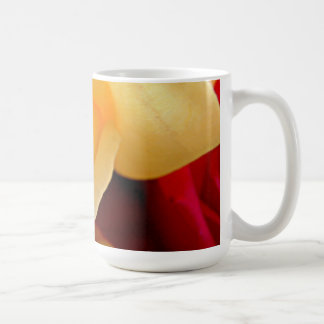 Yellow rose with red background mug